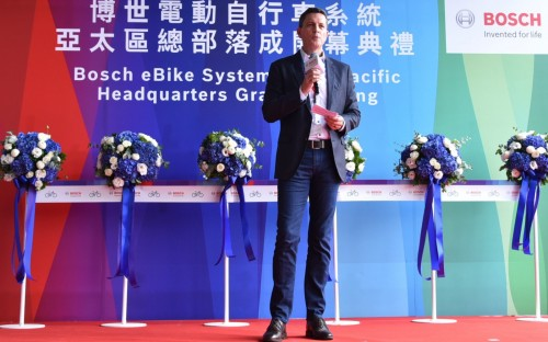 David Howard, Vice President and General Manager von Bosch eBike Systems Asia Pacific, bei der Einweihung des neuen Büros in Taichung.
